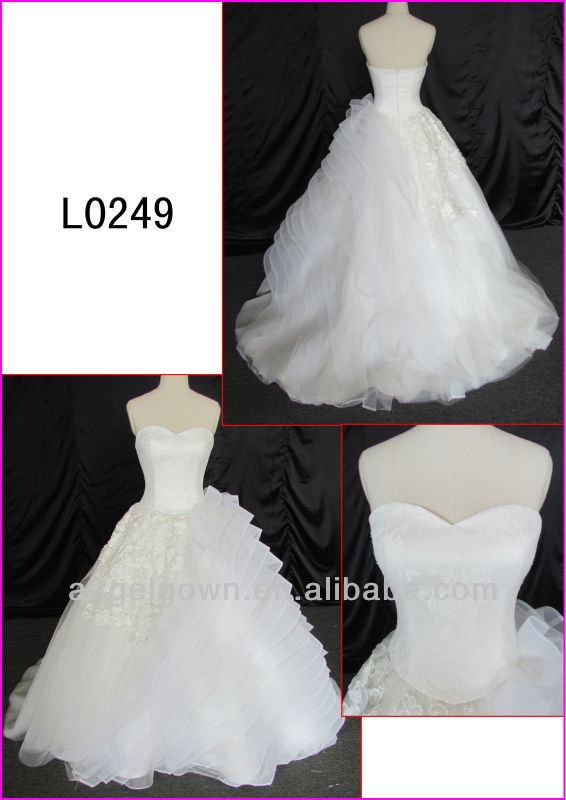 2014 real sample sweetheart organza ball wedding gown/bridal dress with beautiful corded lace L0249