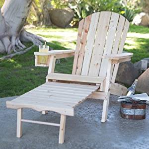 Coral Coast Big Daddy Coral Coast Adirondack Chair with Pull-Out Ottoman and Cup Holder - Unfinished, Natural by Coral Coast