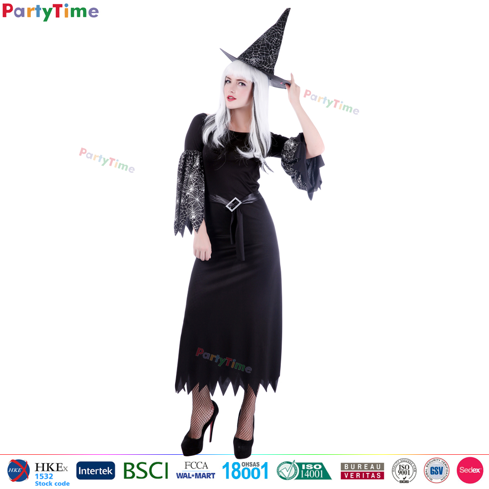 women halloween long sleeve black dresses sexy cosplay witch costume