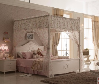 White Teens Bedroom Furniture Mosquito Net Bed Cute Kids Bedroom ...