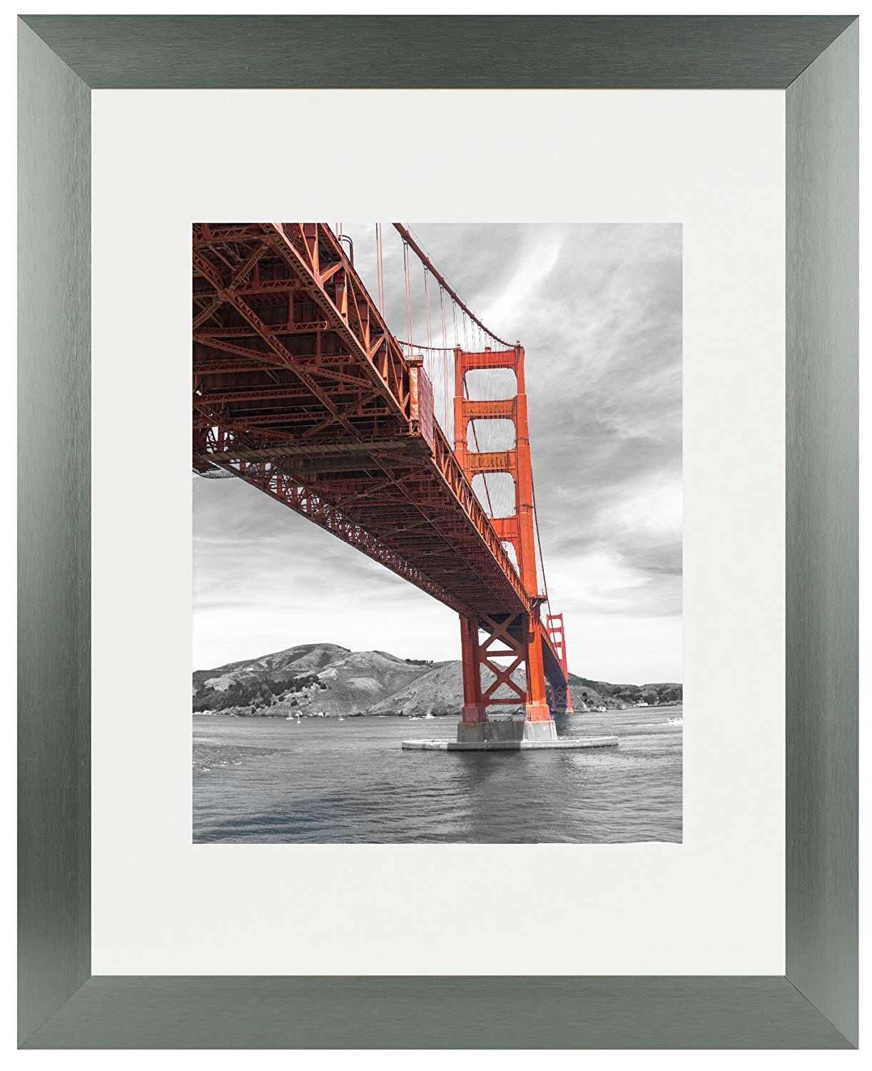 Frametory 11x14 Dark Grey Brushed Metal Picture Frame Collection, Aluminum Photo Frame with Ivory Color Mat for 8x10 Picture & Real Glass