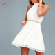 Eco-friendly High Halter Neck White Lace Skater Dress Elegant Back Zipper Party Mini Dress for Girls