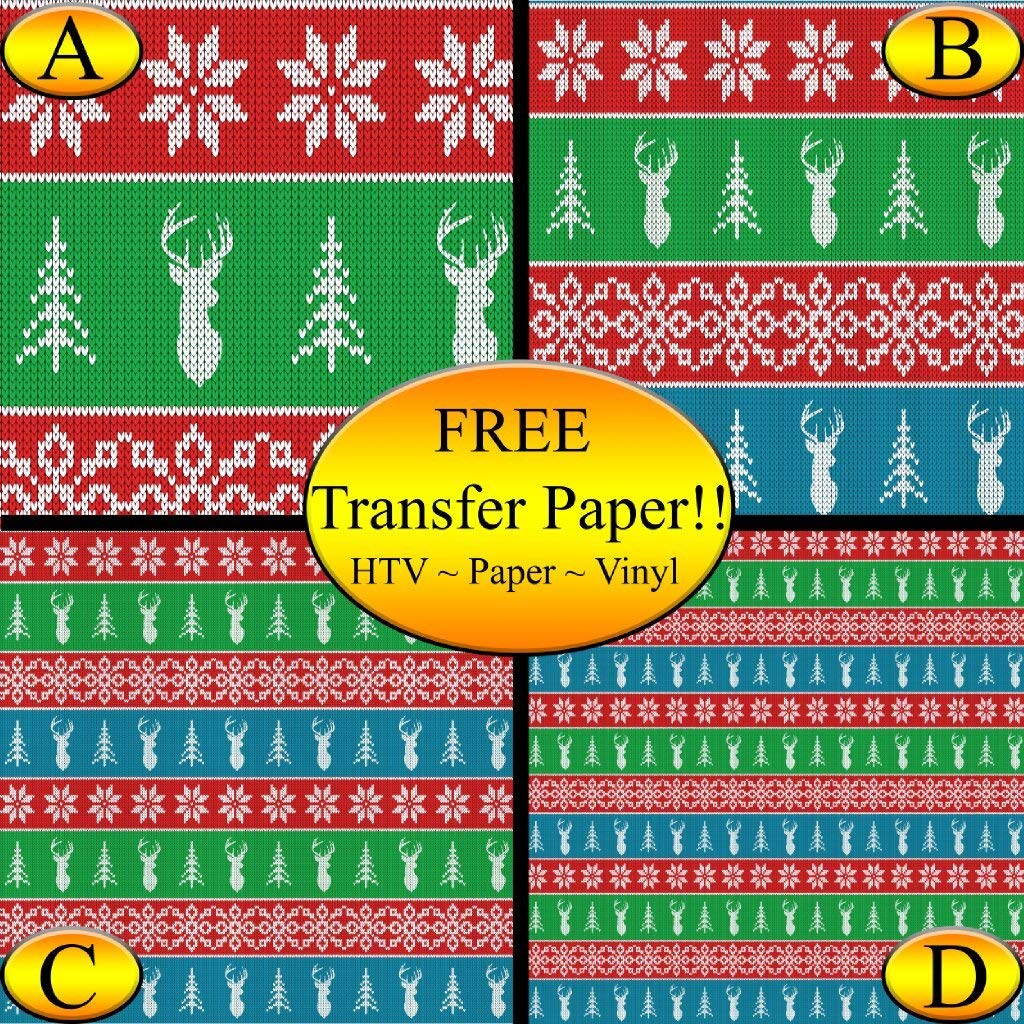 Multi-color Christmas Knit Pattern Printed Heat Transfer Vinyl (Style C - 12 x 48)