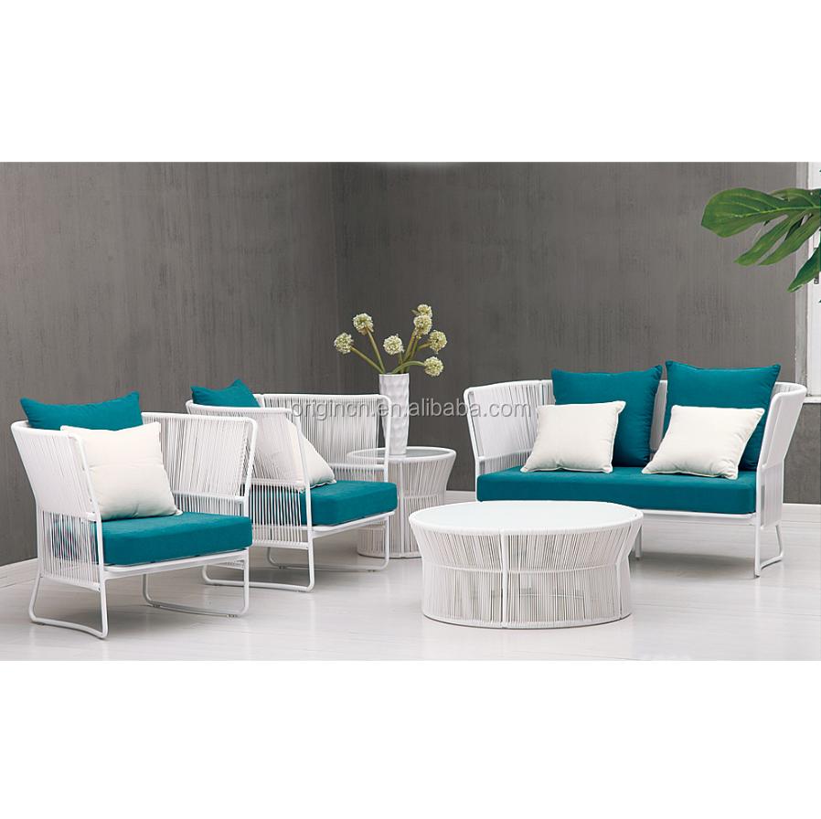 Elegant Artistic Waiting Room Sofa Set Made Of White Synthetic