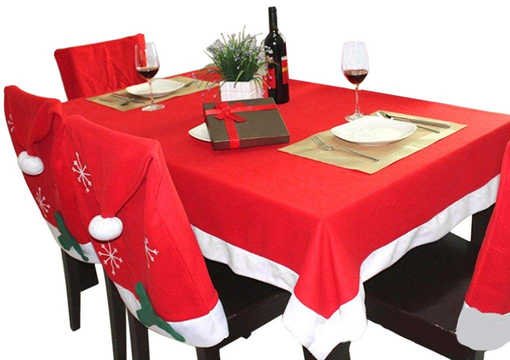 Christmas Decorations, 6 Pcs Santa Clause Hat Chair Covers Slipcovers & 1 Pcs Table Runner Set Decor for Christmas Halloween Festive Party Dinning Room Kitchen Dinner Table Decoration Ornament Props