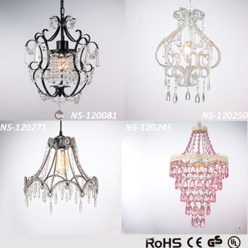 1 Light Victorian Style Crystal Mini Chandelier Pendant Wrought Iron Ceiling Fixture Decor