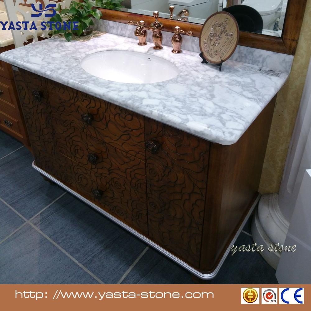 bianco carrara encimeras de marmol bao gabinete de madera