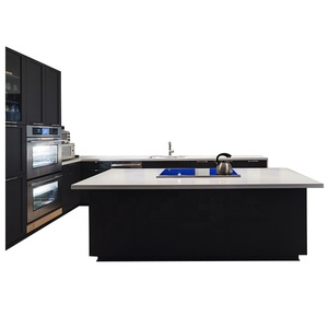 Free design high end matt gloss black and white lacquer kitchen cabinets with island set make in China