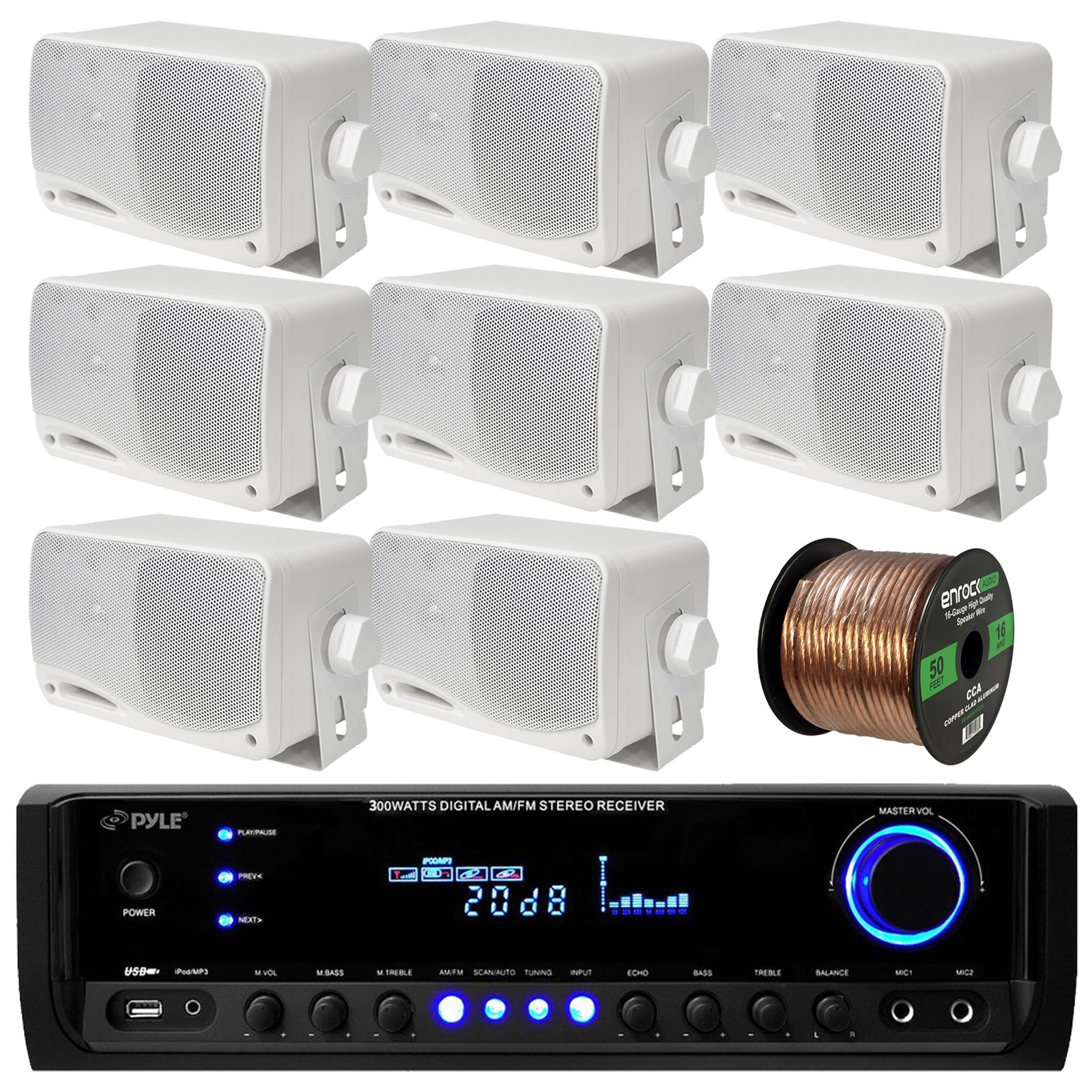 Pyle PT390BTU Bluetooth Digital Home Theater 300-Watt Stereo Receiver Bundle Combo With 8x White 3'' Inch 3-Way Wall Mount Home Audio Speakers + Enrock 50 Ft 16g Speaker Wire