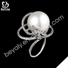 fashion wholesale costume jewely custom silver pearl ring mountings