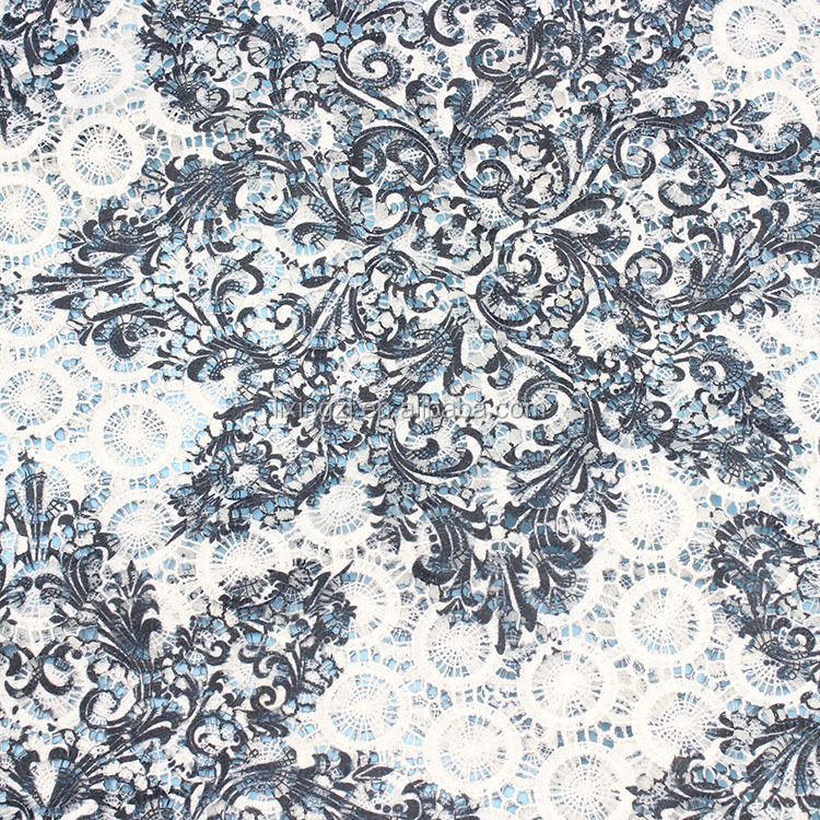 2017 Alibaba hot textile white printed polyester embroidery chemical lace fabric
