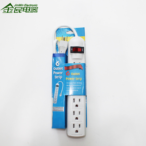Low Price Yellow Color US Extension Power Strip 6 Outlet Power Board with 3 Feet Cable