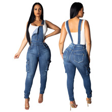 Fashion pocket skinny jeans <span class=keywords><strong>vrouwen</strong></span> denim jumpsuit <span class=keywords><strong>overalls</strong></span>