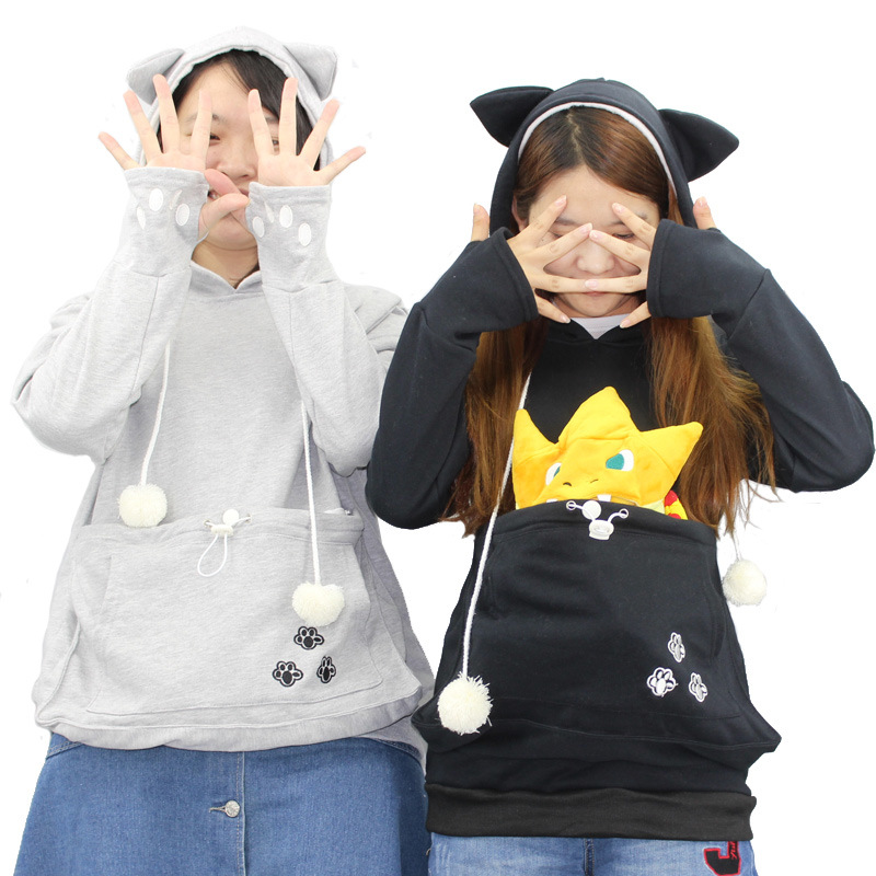 Cat Lovers Hoodies With Cuddle Pouch Dog Pet Hoodies For Casual Kangaroo Pullovers With Ears Sweatshirt 4XL Drop Shipping фото