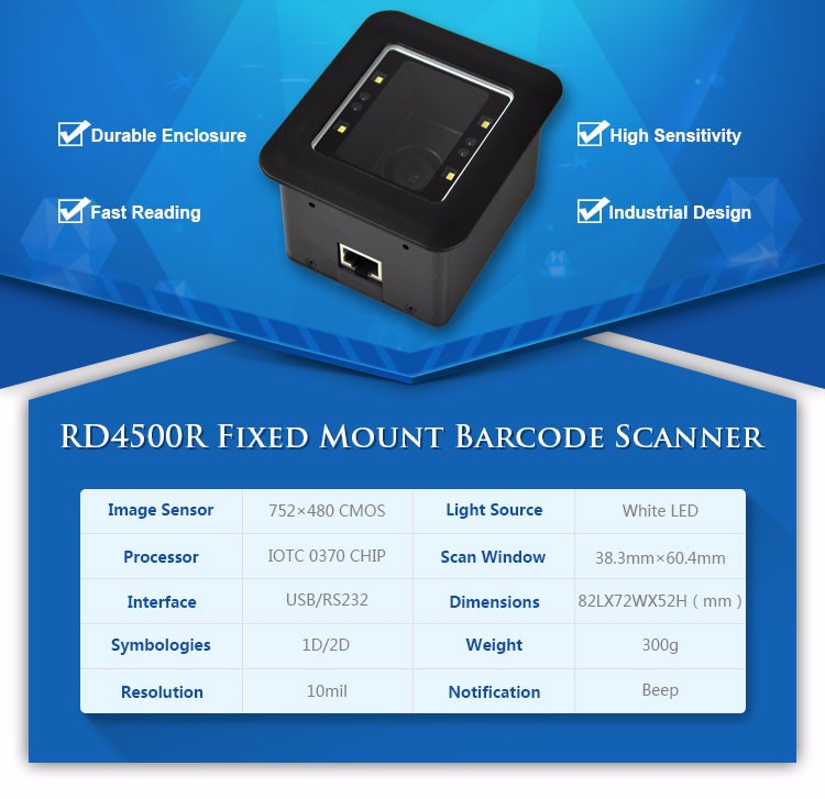 Phone Screen 2D Arduino Fix Mounted Barcode Scanner Module for ATM