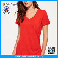 Custom Women Pocket Tshirt Plain Red Ladies Cloth Deep V-Neck T-shirt Printed Logo Online Sale