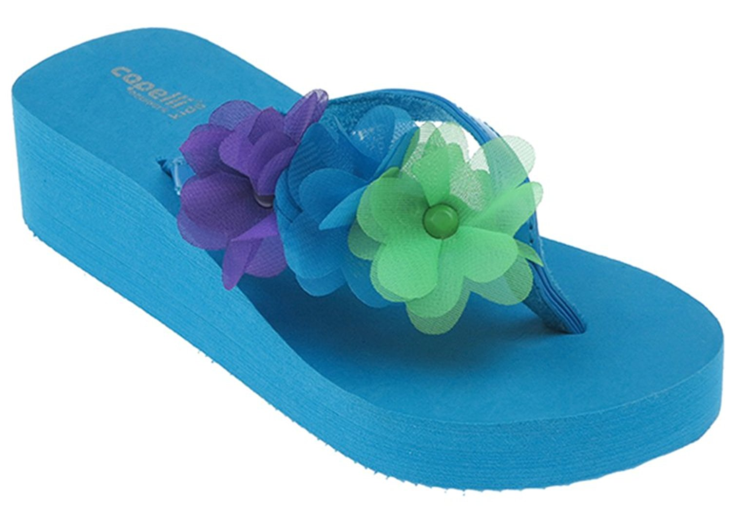 Capelli New York Patent thong with flowers and studs Girls Flip Flops