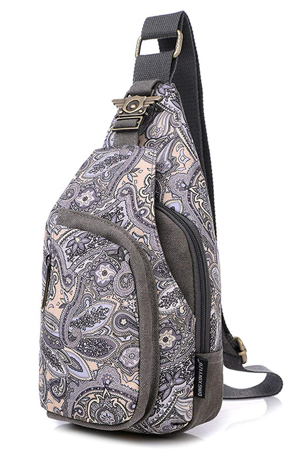 Paisley Multi-function Sling Bag Chest Shoulder Backpack for Women,girls