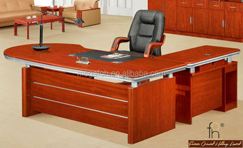Shape mahogany wood executive desk set for manager office foh k2409
