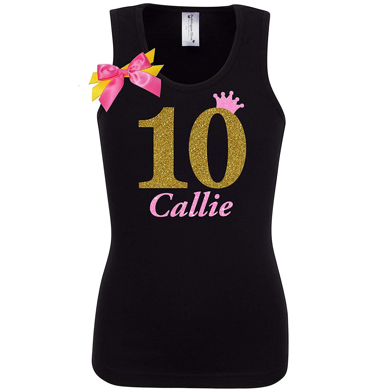 Get Quotations 10th Birthday Shirt Gold Ten T Girls Tank Top Custom Name Age 10 Neon