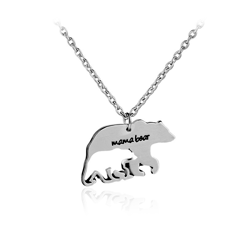Wholesale UK Fashion Silver Color Necklaces Jewelry Mama Bear Necklace фото