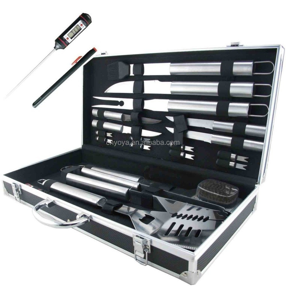 19-Piece Deluxe Stainless Steel BBQ Tool Set With Storage Case - Includes Spatula with Bottle Opener, Fork, Tongs, Knife, grill&