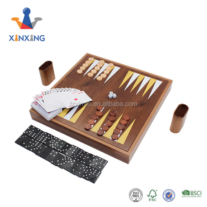 Multiple Wooden Games 6 in 1 chess Games Set domino backgammon game set