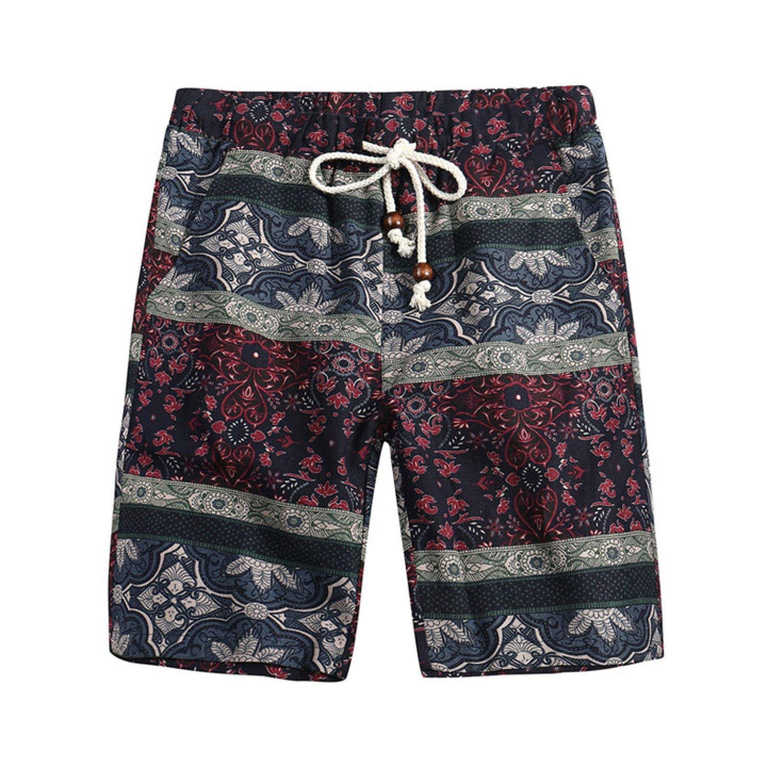 Tydo Retro Blue Floral Pattern Mens Beach Shorts Loose Surfing Trunks Surf Board Pants With Pockets For Men