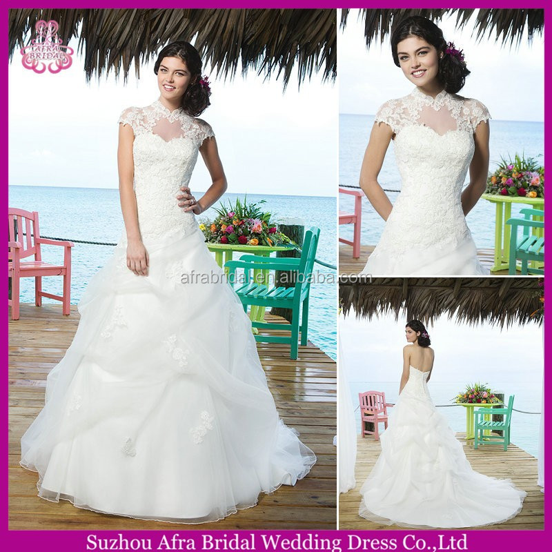SD2183 high neck two piece lace wedding dress super plus size wedding dresses