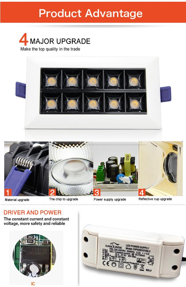 product-Square LED Grille Light High Quality Hot Sales Single ten Head Led Spot Light-Leimove-img-2