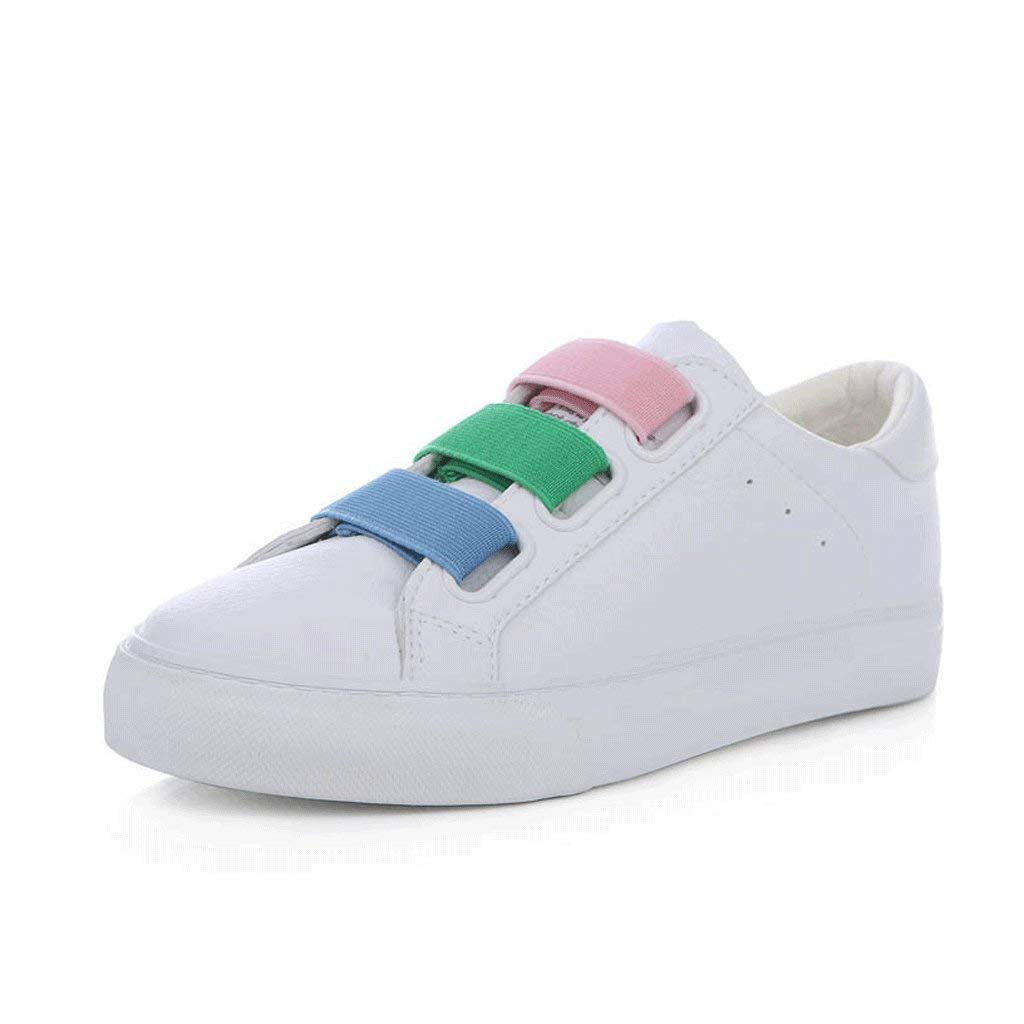 Fashion Stretch Student Flat Shoes Casual Breathable Skateboarding Shoes Women Loafers (Color : White, Size : 37)
