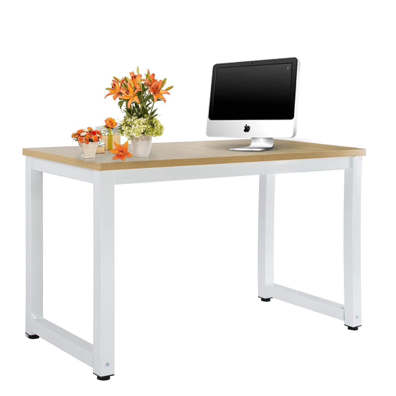 "Rectangular Table Office Computer Desk – 47""for Home/Office/School, Modern Simple Style, Natural & White Leg"