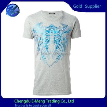 New design custom apparel body fit basic foil printing for Foil print t shirts custom