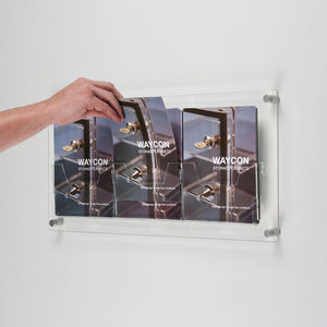 Acrylic Wall Mounted Brochure Dispenser for A4 size brochure with 3 pockets