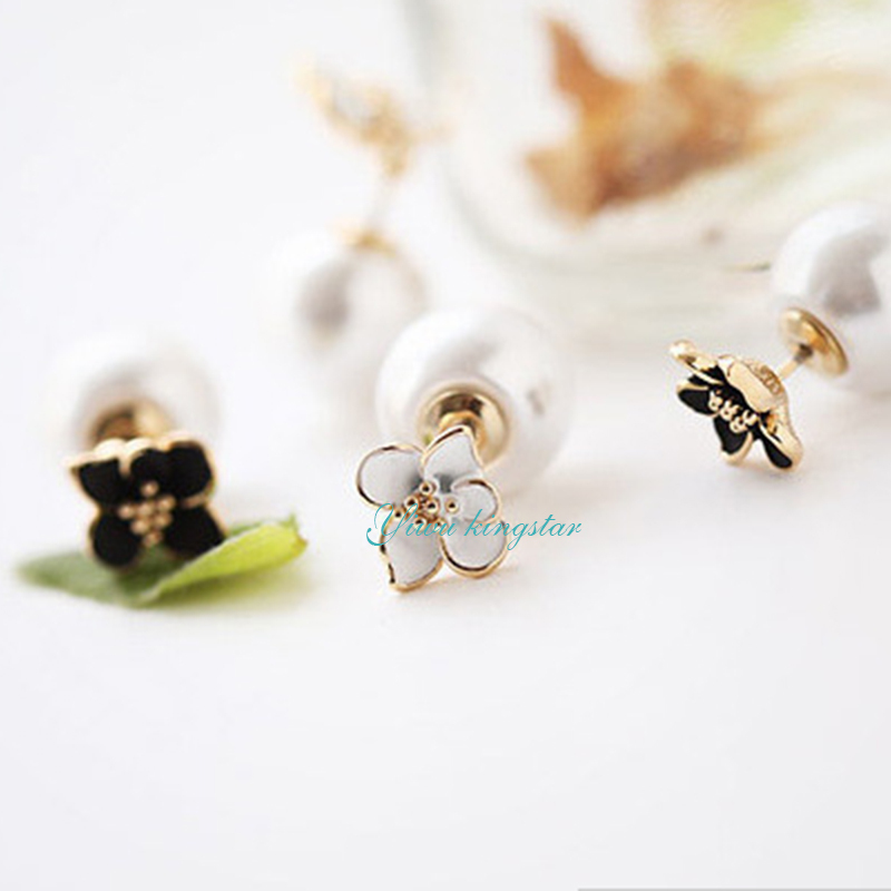 2015 Hot Double Side White Pearl Stud Earrings Flower Floral Stud Earring Summer Style Stud Earrings In Women's Jewelry AJD-067