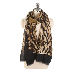 Fashion Trendy Tiger Head Leopard Scarf Shawls
