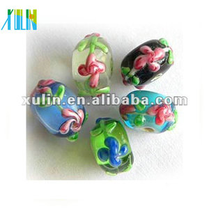 Wholesale bracelets DIY charm beads flower printing lampwork glass loose beads