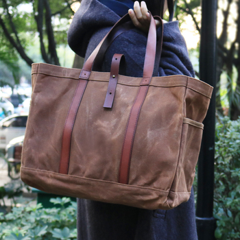 17de9713cfc Heavy Duty Brown Waxed Canvas Tote Bag With Leather Trim For Women - Buy  Tote Bag,Cotton Tote Bag,Canvas Bag With Leather Trim Product on Alibaba.com