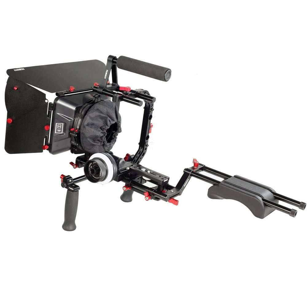 FILMCITY Power Shoulder Mount Kit with Top Handle Cage, Follow Focus, Matte Box, Quick Release for DSLR Video Camcorders Sony Nikon Canon DV HDV BMCC Cameras | CNC Aluminum Stabilizer Rig (FC-P-KIT)