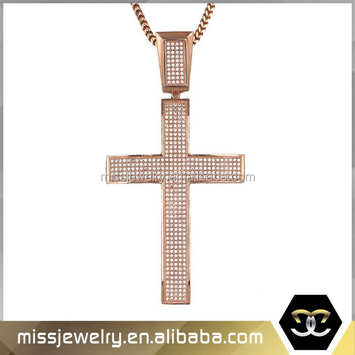 Dubai Gold Cross Pendant, Silver Cross Pendant Necklace MJHP057