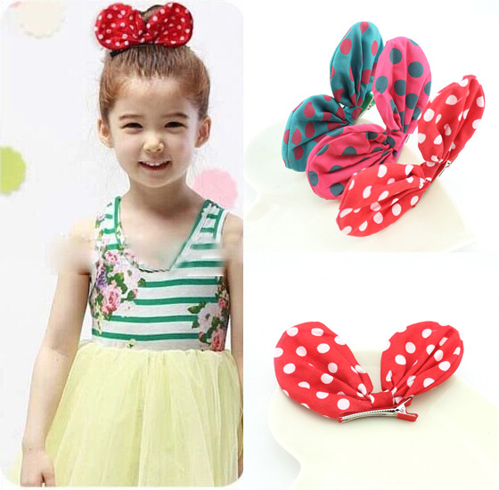 1pcLittle Girl Love Rabbit Ears Hair Clips Bubblegum Bow Kids Hair Wear Accessories Para Cheveux Party