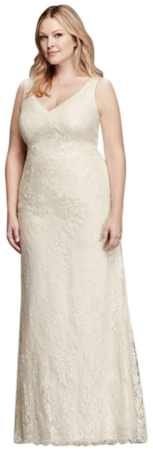 76bb15e71a7 Get Quotations · David s Bridal V-Neck Plus Size Wedding Dress with Empire  Waist Style 9KP3803