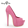 Popular Pink Sexy Designer Women Peep-toe High Heel Office Shoes