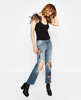 women bootcut jeans heavy destroyed cropped jeans OEM wholesales jeans
