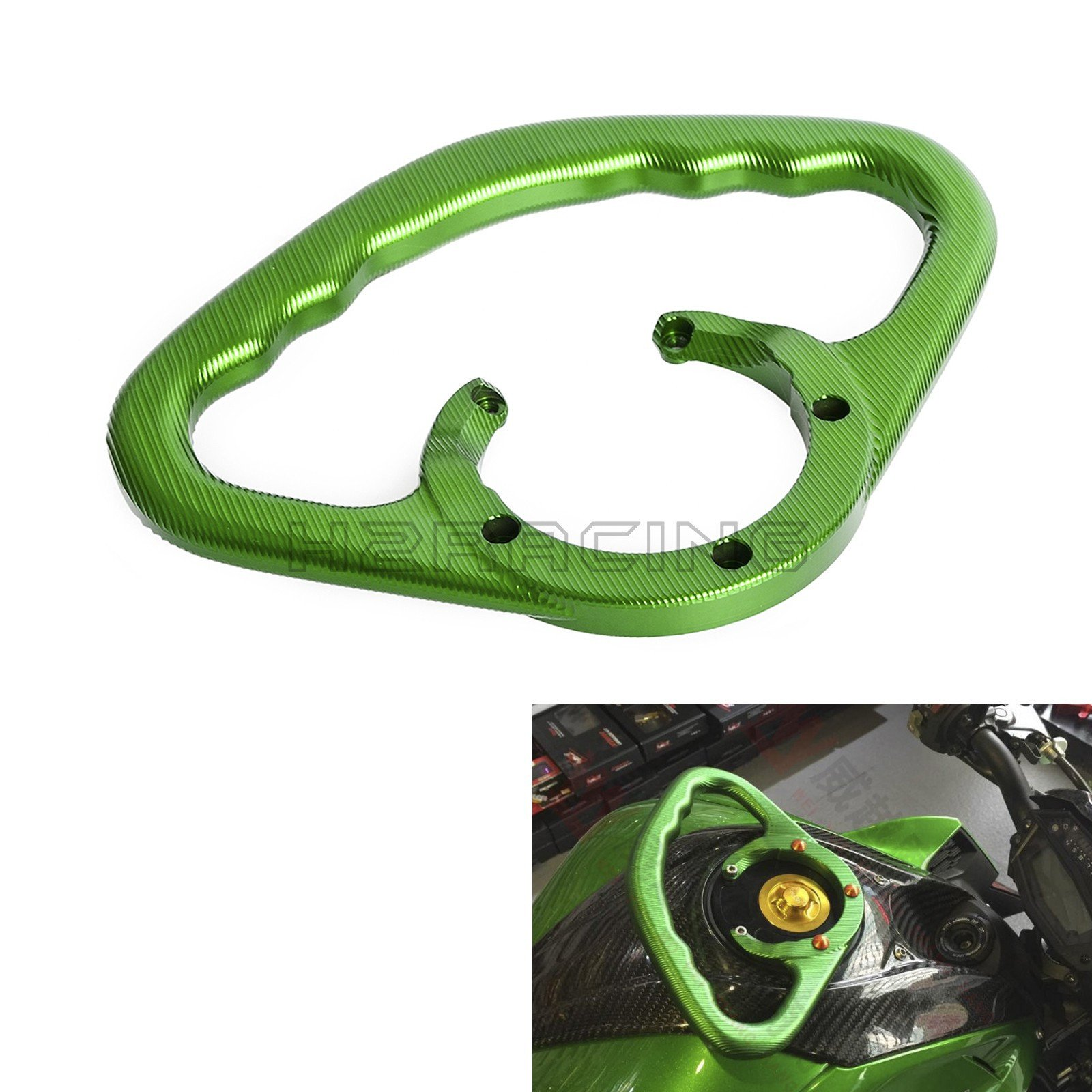 H2RACING Green Tank Grab Passenger Grab Handle for Kawasaki ZX-14R 06-15 Concours 14 2010,ABS 11-16 ZZR1200 02-05 ZRX1200R 01-05 Z1000/ABS 03-16 ZX-9R 00-04