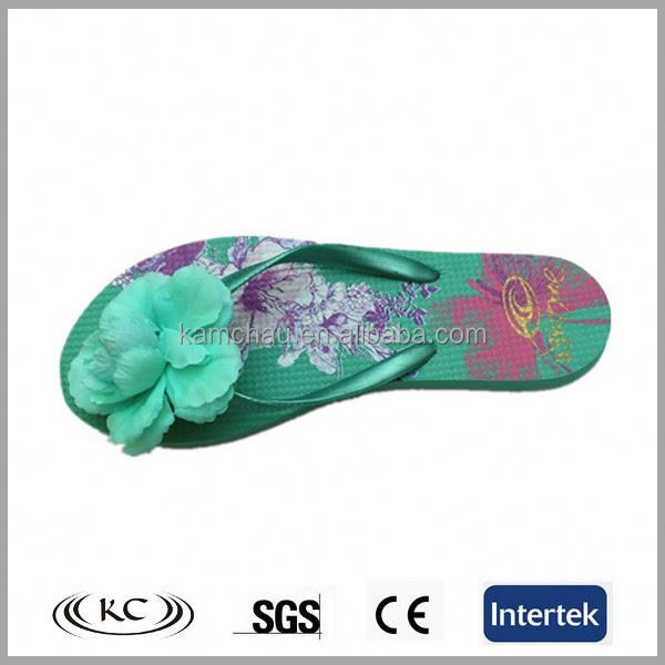 2017 fashion simple style women wedding green PE summer beach sandals flowers favors flip flops