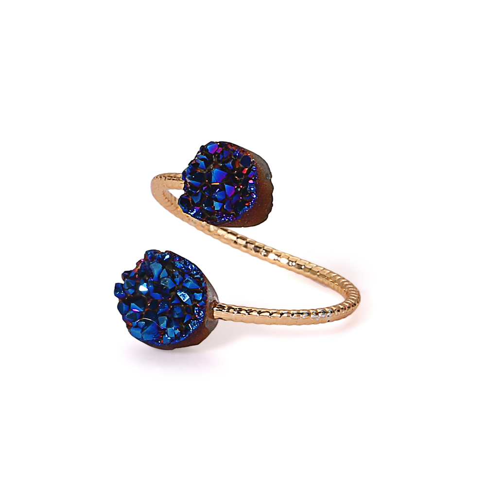 Hot sale fashion gold plated natural brazil agate druzy quartz stone adjustable engagement rings gemstone jewelry for women фото