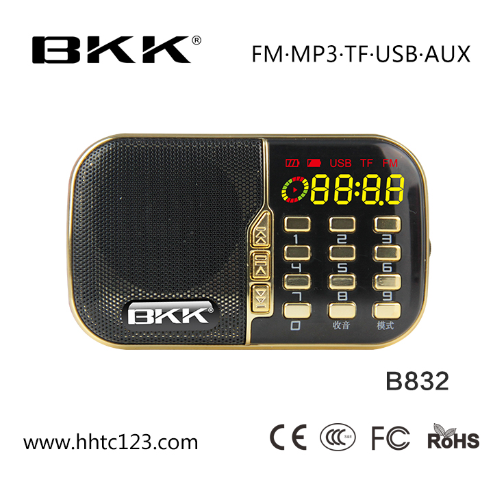 Mini Rádio Digital Mp3 Player Portátil Rádio FM (B832)