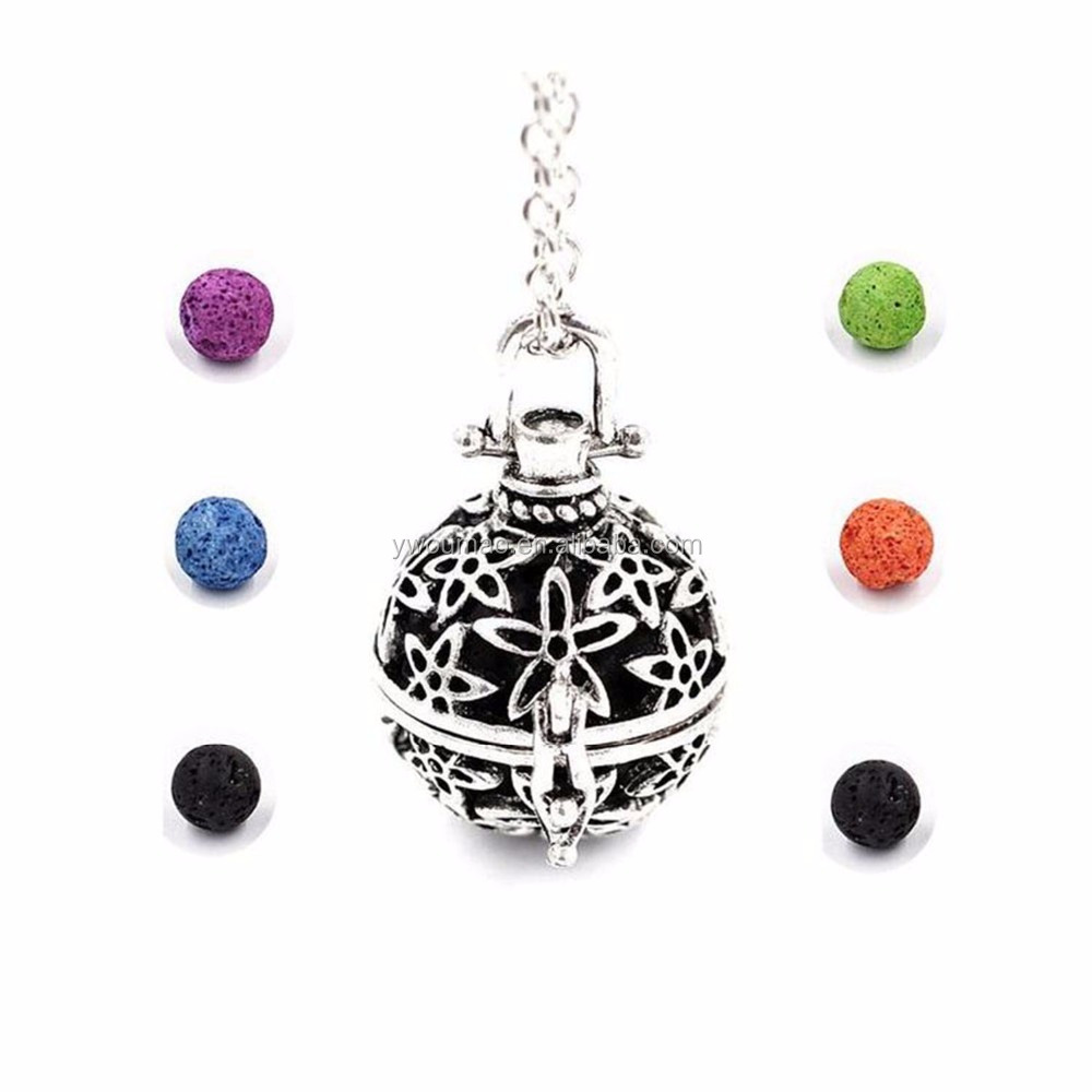 Essential Oil Diffuser 6 Colorful Ball Lava Stone Aromatherapy Necklace
