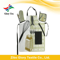 100% cotton custom printing waist kitchen apron and oven mitt set for AUCHAN